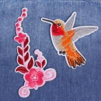 Термоаппликация, нашивка Колибри и цветок