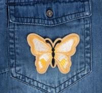 Термоаппликация, нашивка Бабочка бежевая