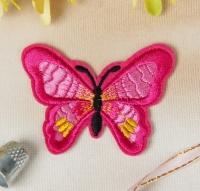 Термоаппликация, нашивка Бабочка розовая