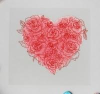 Термотрансфер Сердце с розами