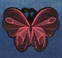 Термоаппликация, нашивка Бабочка большая с пайетками