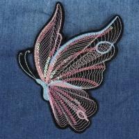 Термоаппликация, нашивка Стильная бабочка с пайетками