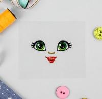 Термонаклейка, зеленые глазки. Кукла Люба