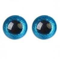 Глазки для игрушек с заглушками Голубые блестки