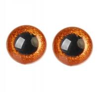 Глазки для игрушек с заглушками Оранжевые блестки