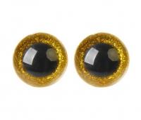 Глазки для игрушек с заглушками Желтые блестки
