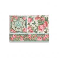 Бумага рисовая для декупажа Розы и часы