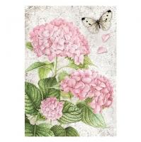 Бумага рисовая Розовая гортензия