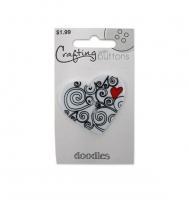 Пуговица фигурная Doodle Heart