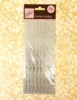 Наклейки с блестками бордюр Рождество серебро