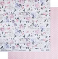 Бумага для скрапбукинга «Нежные цветы на белых досках»