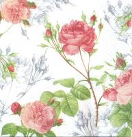 Салфетка «Розы и тени на белом»
