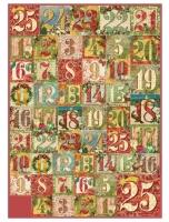 Большая карта для декупажа Рождественские цифры