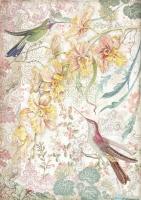 Бумага рисовая Желтые орхидеи и птицы