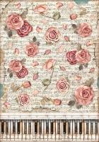 Декупажная рисовая карта Страсть. Розы и пианино