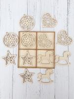 Набор ёлочных игрушек из дерева №5 Узоры