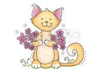 Силиконовый штамп «Кошка и цветы»