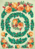 Большая карта для декупажа «Розы к рождеству»
