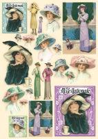 Большая карта для декупажа Модная шляпка