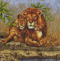 Салфетка для декупажа «Львиное семейство»