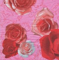 Салфетка для декупажа «Розы на розовом»