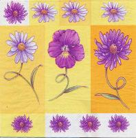 Салфетка для декупажа «Сиреневые цветы на желтом»