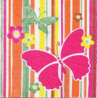 Салфетка для декупажа «Бабочки. Полоски.»
