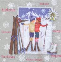 Салфетка для декупажа «Лыжники»