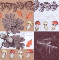 Салфетка для декупажа «Дубовые листья и грибы»