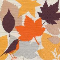 Салфетка для декупажа «Листья и птица»