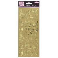 Наклейки Золотые бабочки фольгированные
