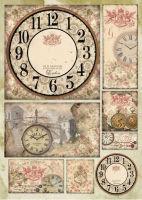 Большая карта для декупажа «Старинные часы»