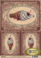 Декупажная карта «Мороженое»