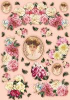 Большая карта для декупажа «Леди и розы»