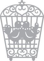 Обратный трафарет «Влюблённые птички»