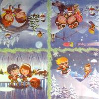 Салфетка для декупажа  «Зимние забавы»
