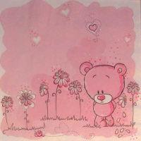 Салфетка для декупажа «Розовый мишка»