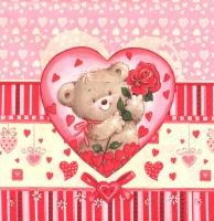 Салфетка для декупажа «Мишка с розой»