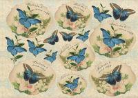 Декупажная карта «Летящие бабочки»