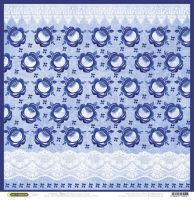 Бумага для скрапбукинга «Гжель. Кружево голубое»