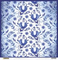 Бумага для скрапбукинга «Гжель. Вьюнок на голубом»