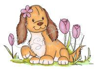 Силиконовый штамп «Собачка в тюльпанах»