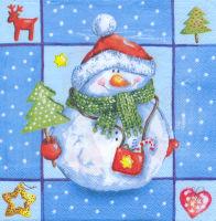 Салфетка для декупажа «Снеговик с ёлочкой»