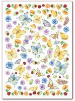 Цветной листовой войлок с рисунком «Бабочки»