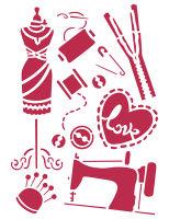 Трафарет «Креативное шитьё и манекен»