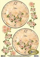 Декупажная карта «Циферблат с розой»